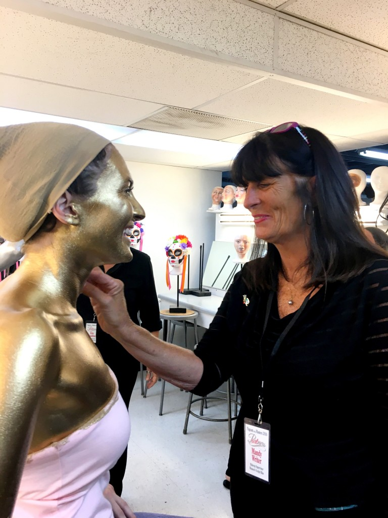 applying makeup for Pageant of the Masters