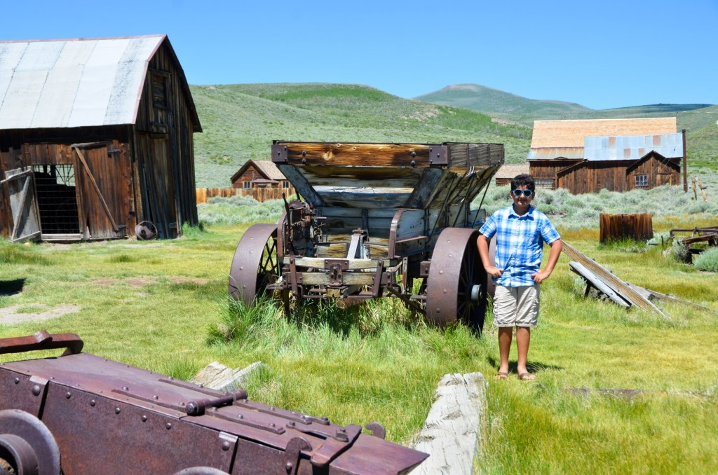 old farming equipment in bodie