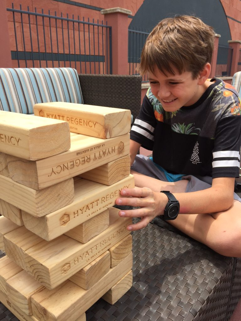 Playing jenga at hyatt la jolla