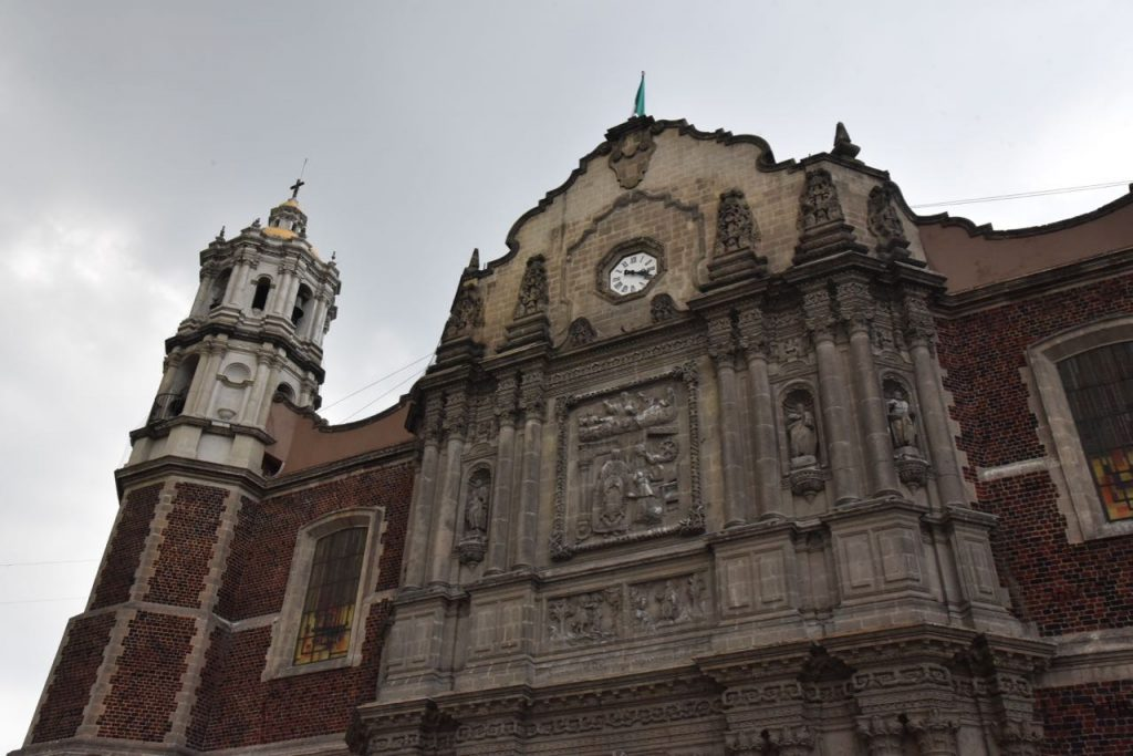 Looking up at the Old Basilica of Our Lady of Guadalupe