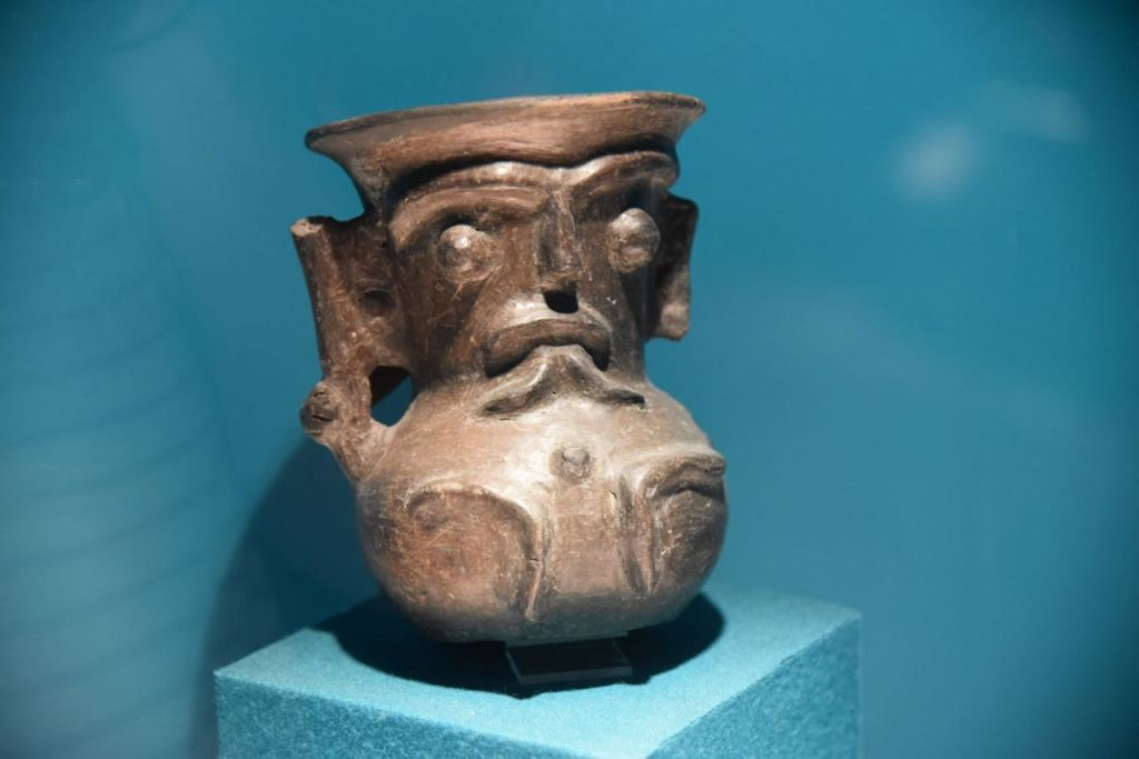 Carved pot in Teotihuacan