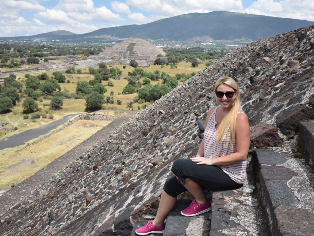 Sitting on the steps of the Pyramid of the Sun