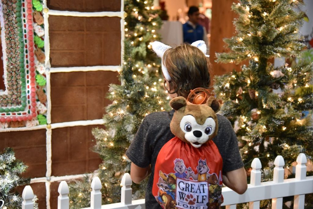 Admiring the life-size gingerbread house at Great Wolf Lodge