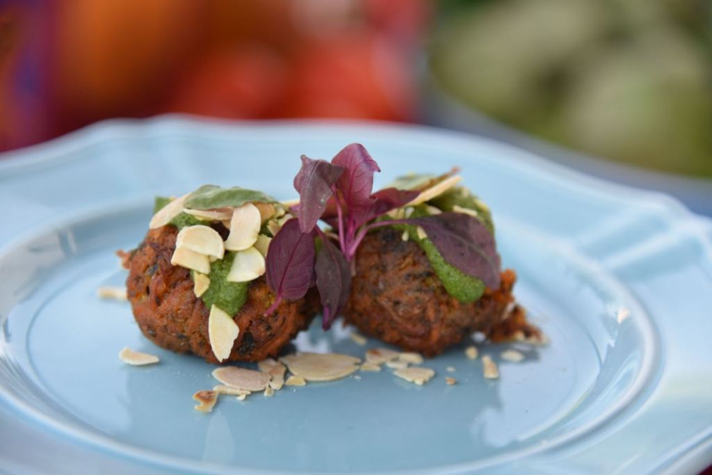 Carrot & Chickpea Fritters with coriander-almond sauce at Disney's Festival of Holidays