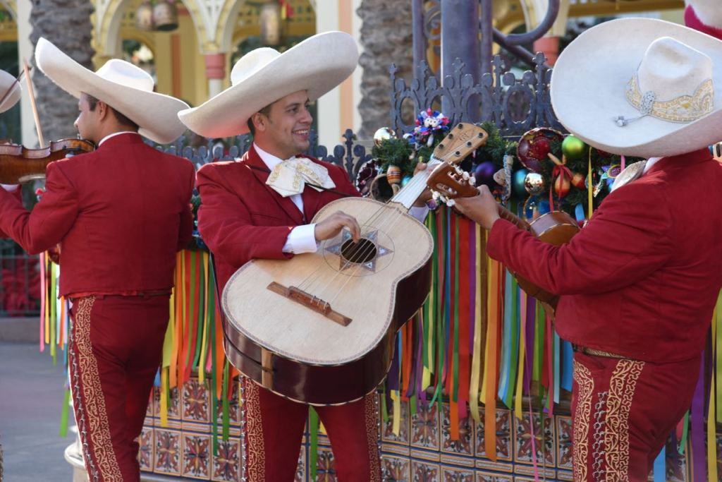 Festive music in the Disney ¡Viva Navidad! Street Party