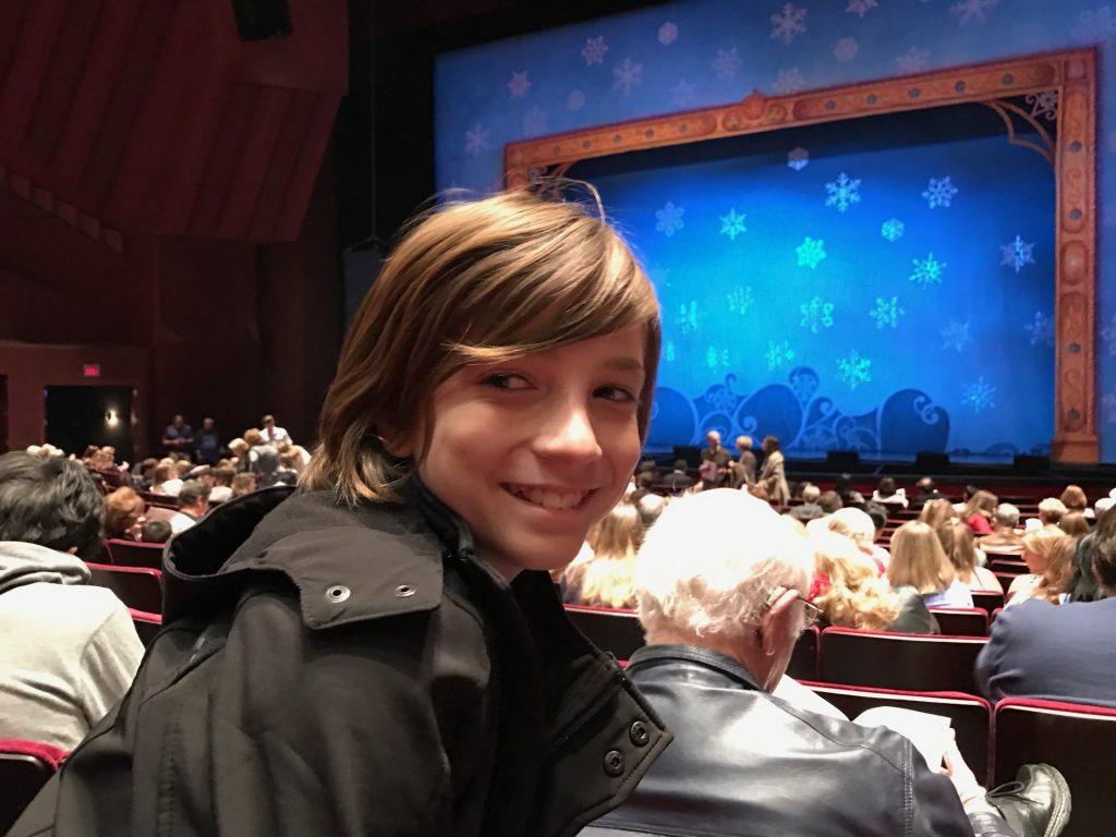 Getting ready to watch Elf the Musical at Segerstrom Center for the Arts