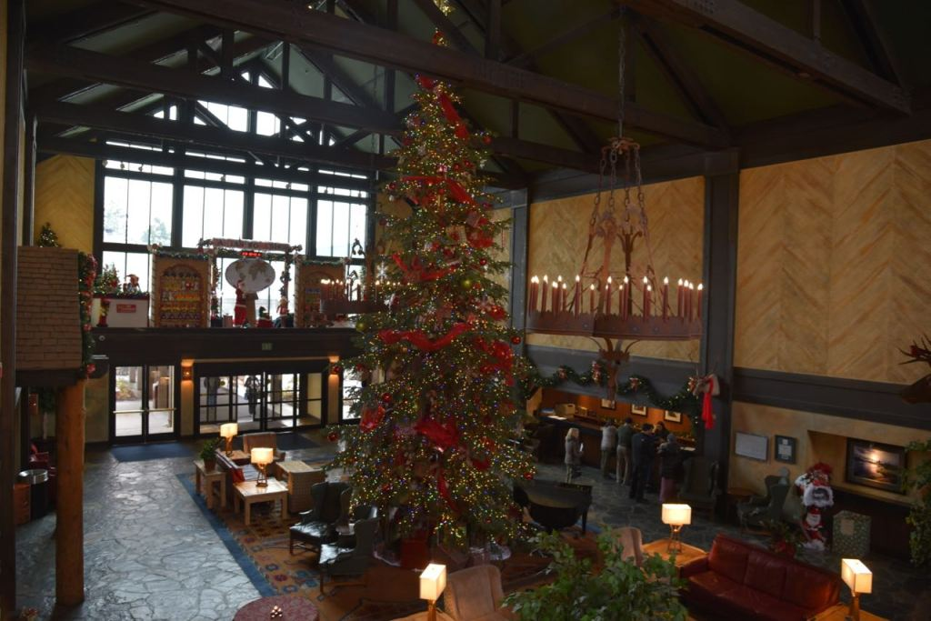 Tenaya Lodge Lobby decorated for Christmas