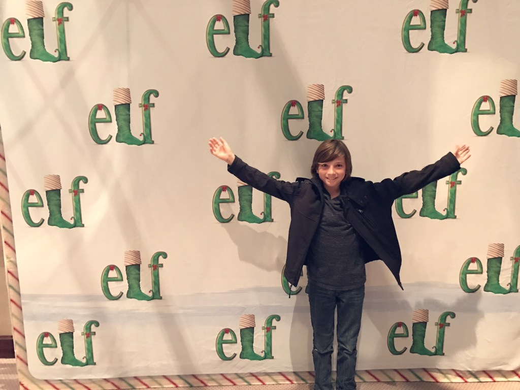 Tyler watching Elf the Musical at the Segerstrom Center for the Arts
