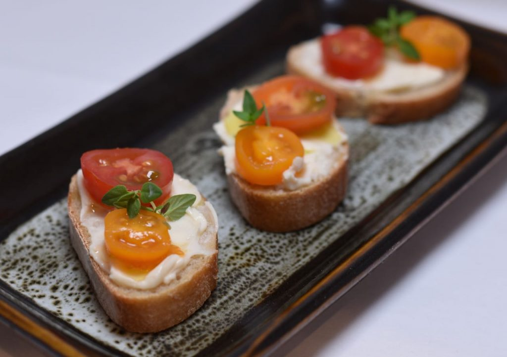 Asiago and Heirloom Tomato Crostini