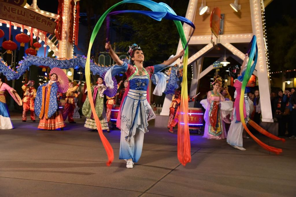 Dancing with ribbons at Disney's Lunar New Year
