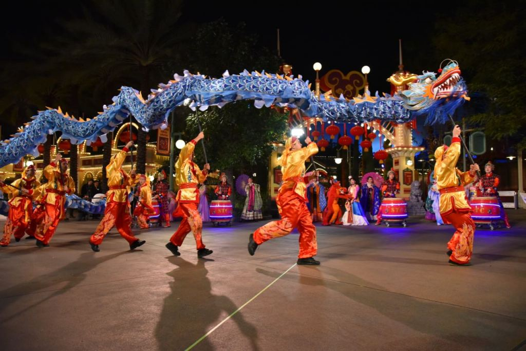 Dragon dance at Lunar New Year at Disney California Adventure Park
