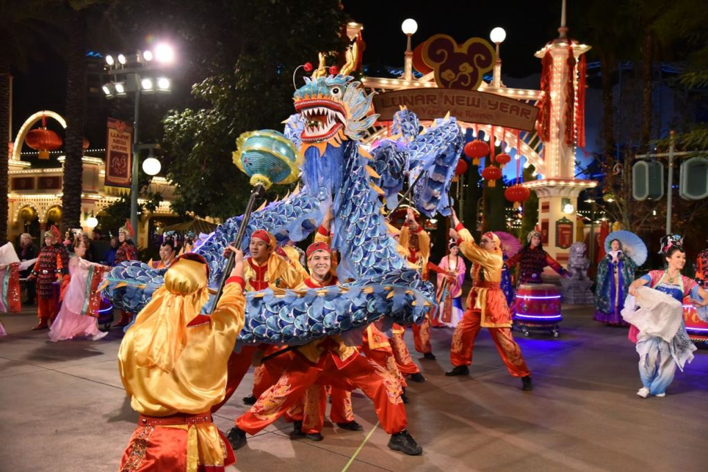 Dragon dancers during Disney's Lunar New Year