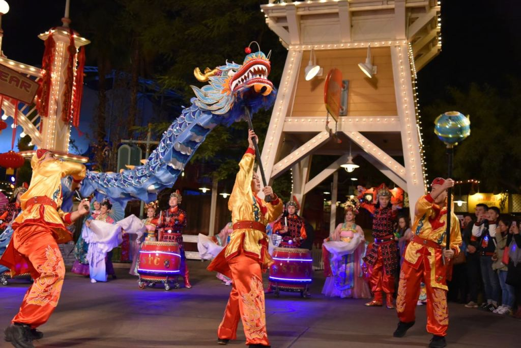 Dragon dancing at Lunar New Year at Disney California Adventure Park