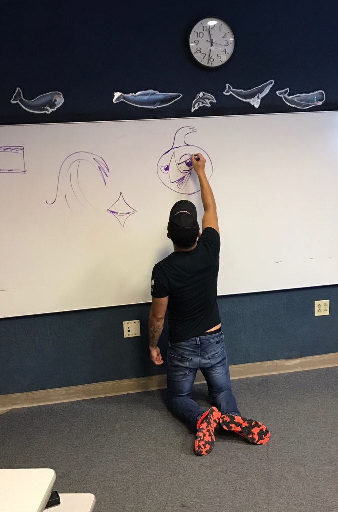 Drawing demo at the Aquarium of the Pacific