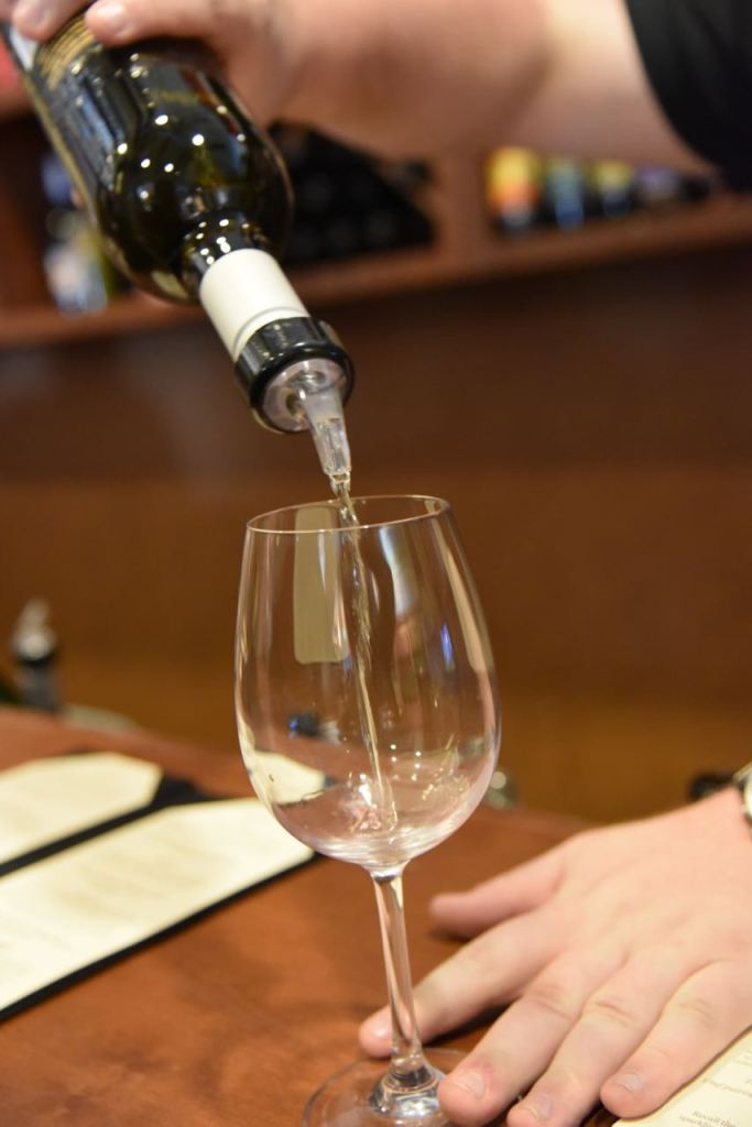 Pouring wine at lorimar Winery in Temecula