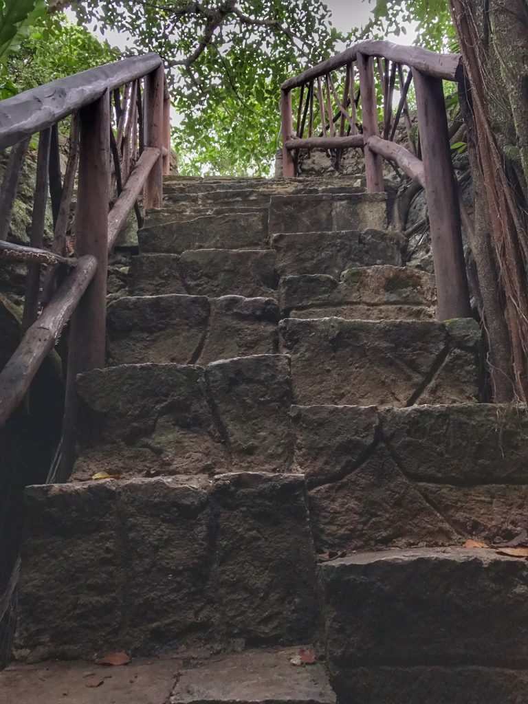 Stairs to cenote in Mayakoba