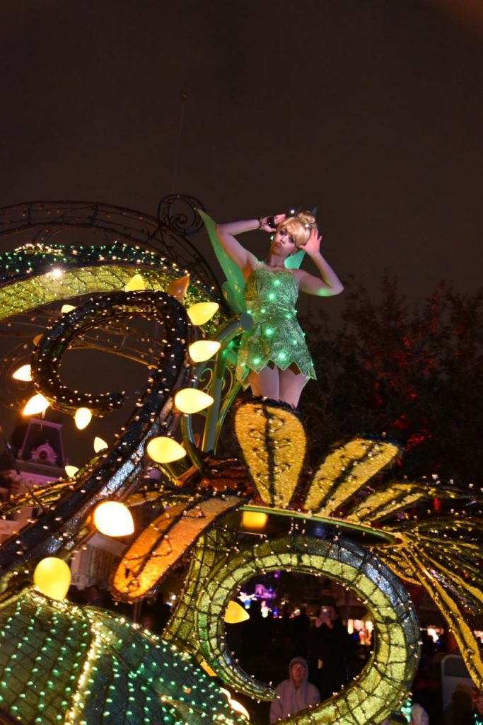 Tinkerbell in the Main Street Electrical Parade in Disneyland