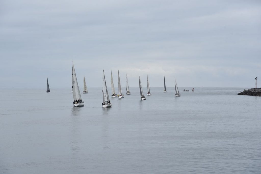 Boats sailing in Newport Harbor