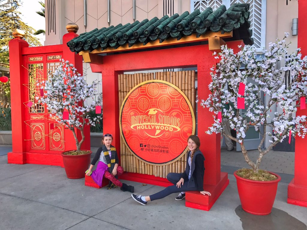 Kids celebrating the Lunar New Year at Universal Studios Hollywood