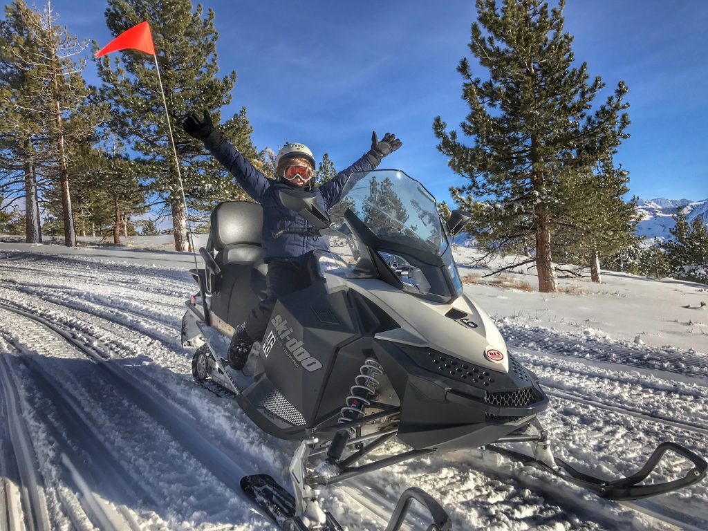 Kids love snowmobile riding in Mammoth