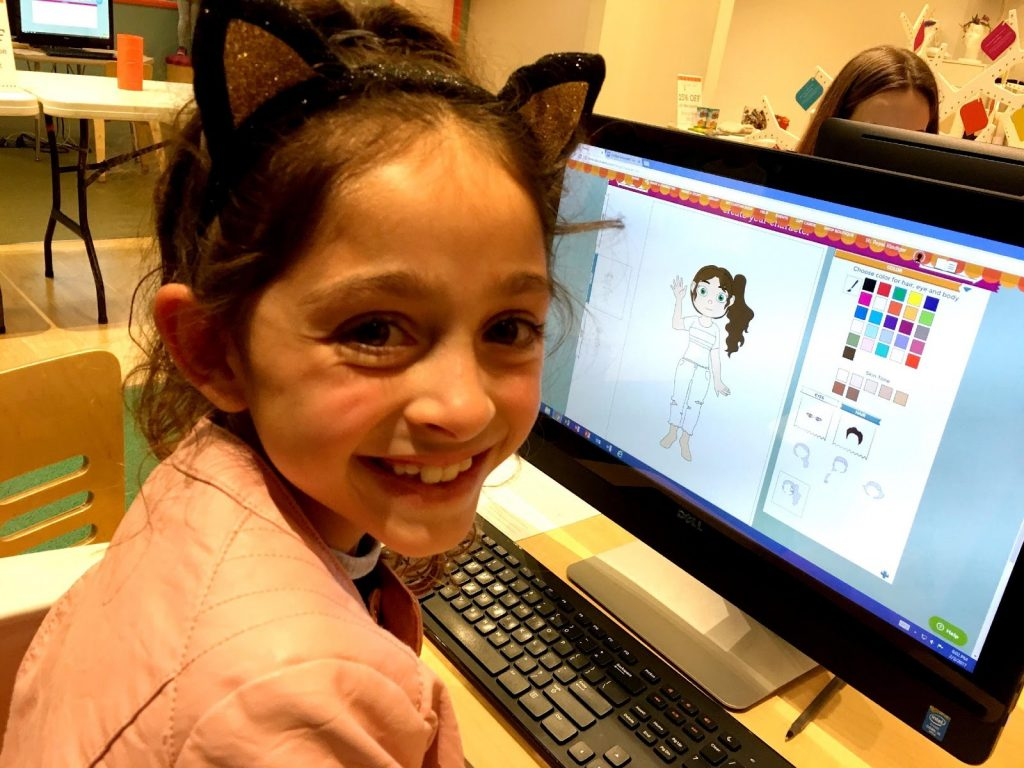 Neka making a character for her book at Storymakery in Irvine