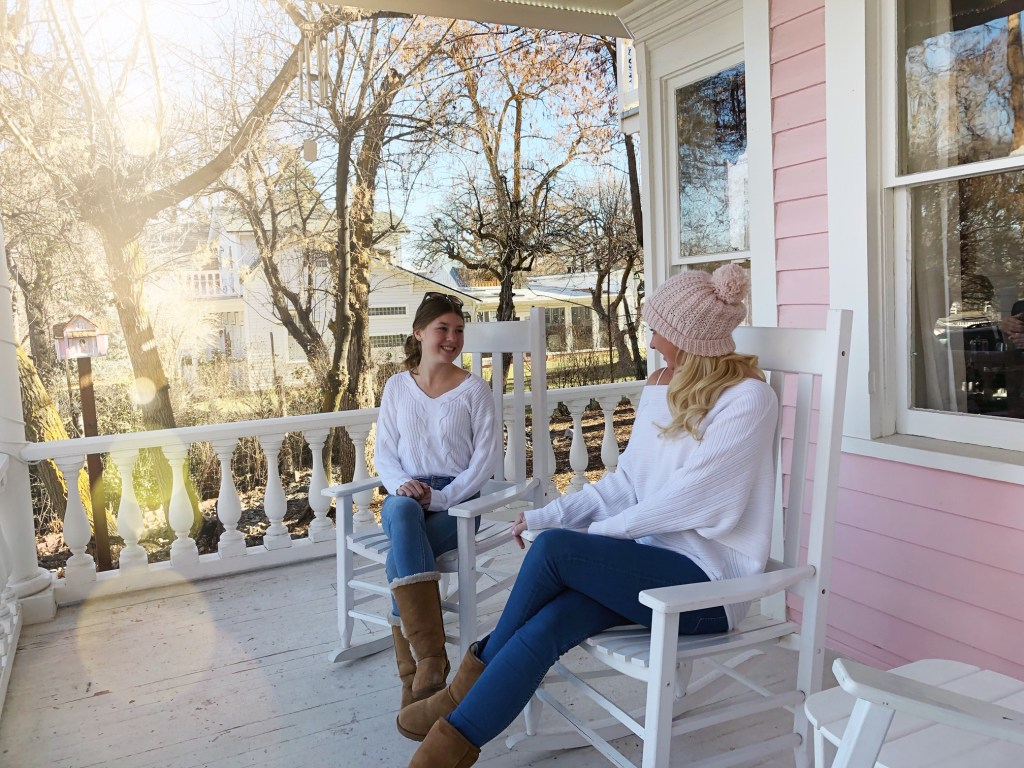 Relaxing on the front porch of The Pink House in Genoa Nevada