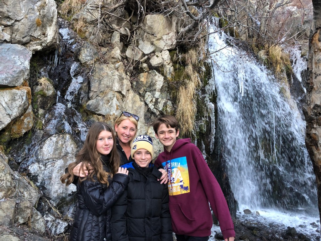 The Barone Family Exploring The Kings Canyon Waterfall in Carson Valley