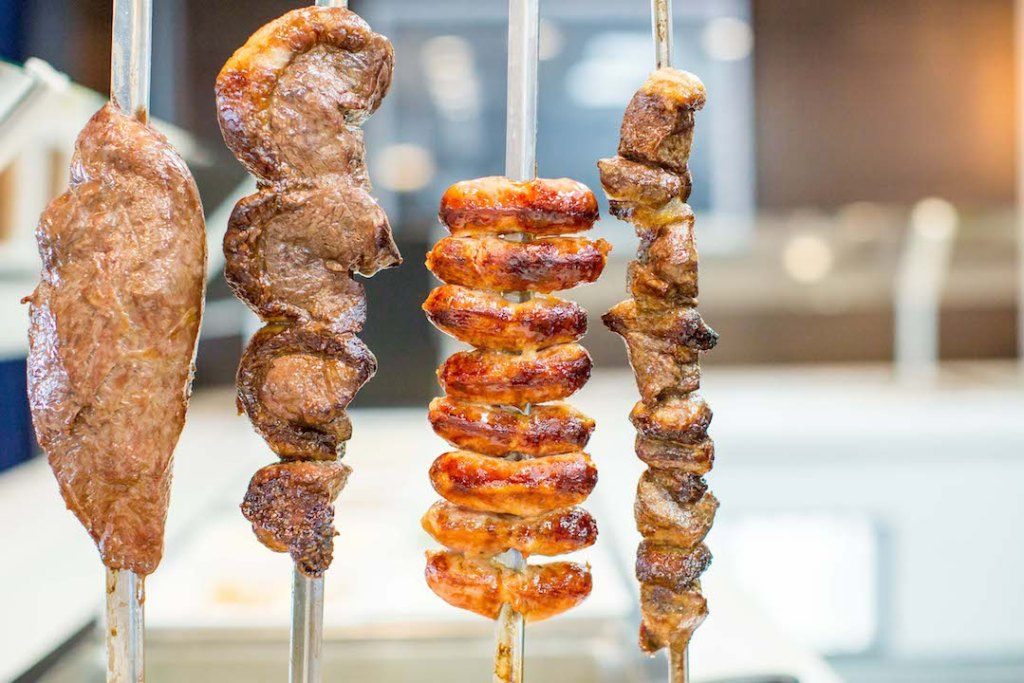 The different meat options at Silva's Fresh Eatery + Churrascaria