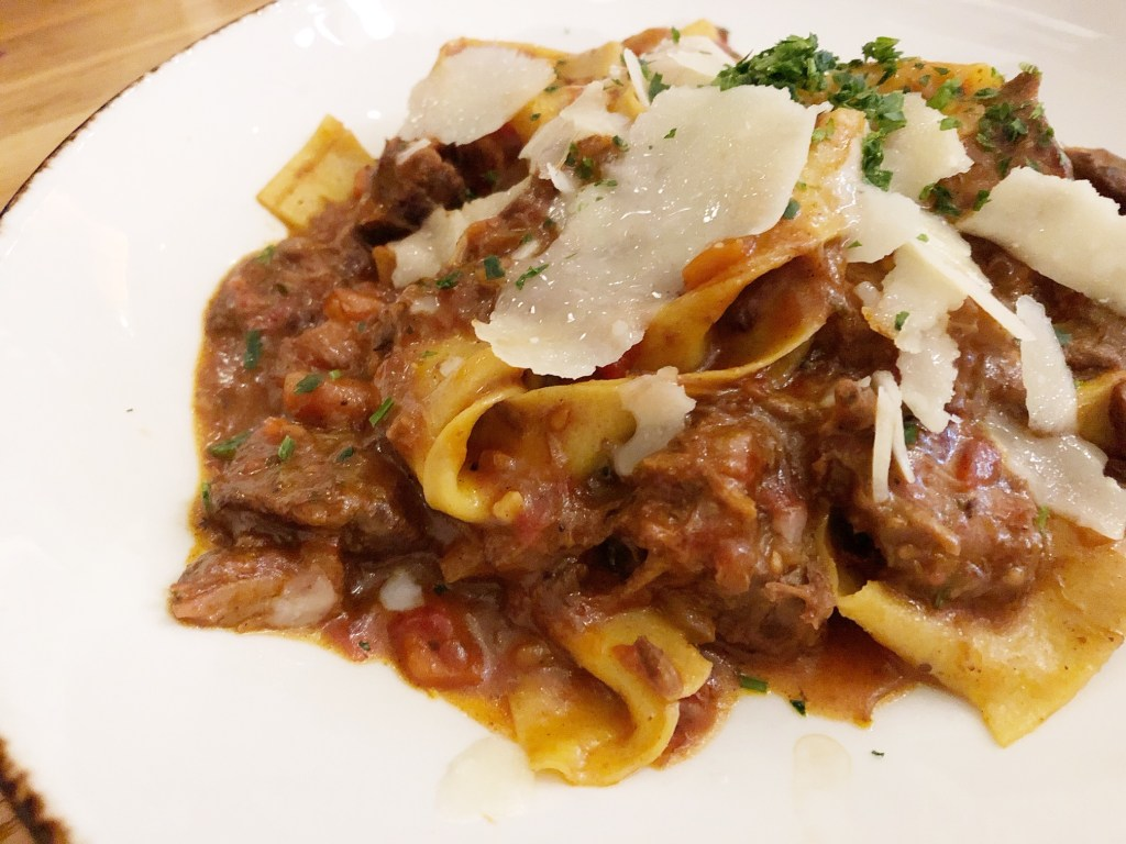 Pappardelle al Cinghiale at Angelina's Pizzeria in Irvine