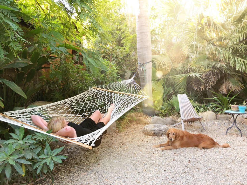 Relaxing in a hammock at the Caravan Outpost in Ojai