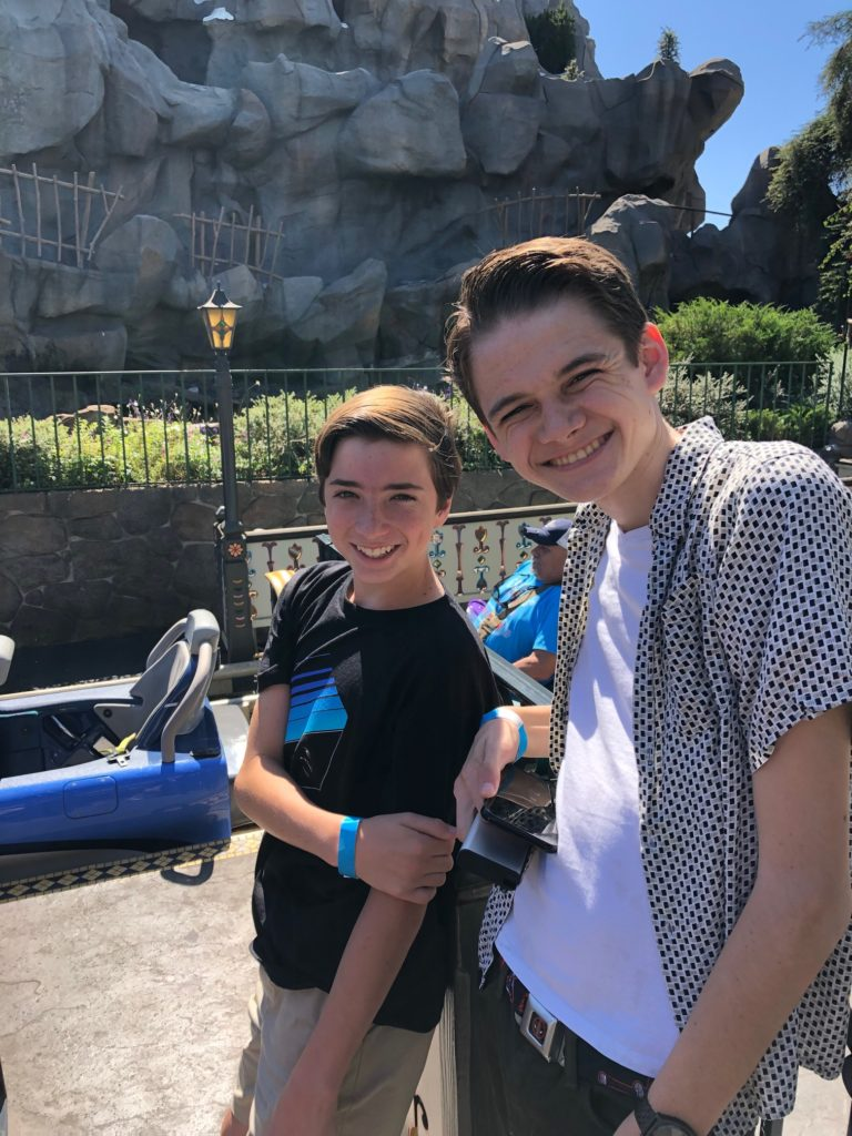 Barone kids riding the matterhorn at Disneyland