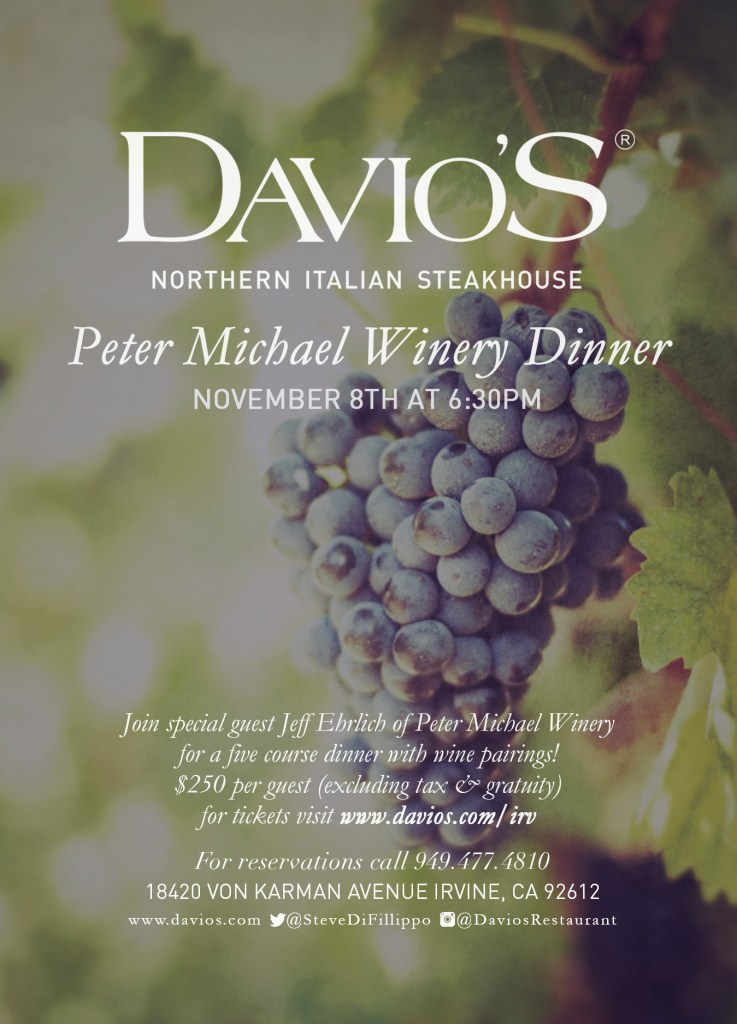 Wine Dinner with Peter Michael