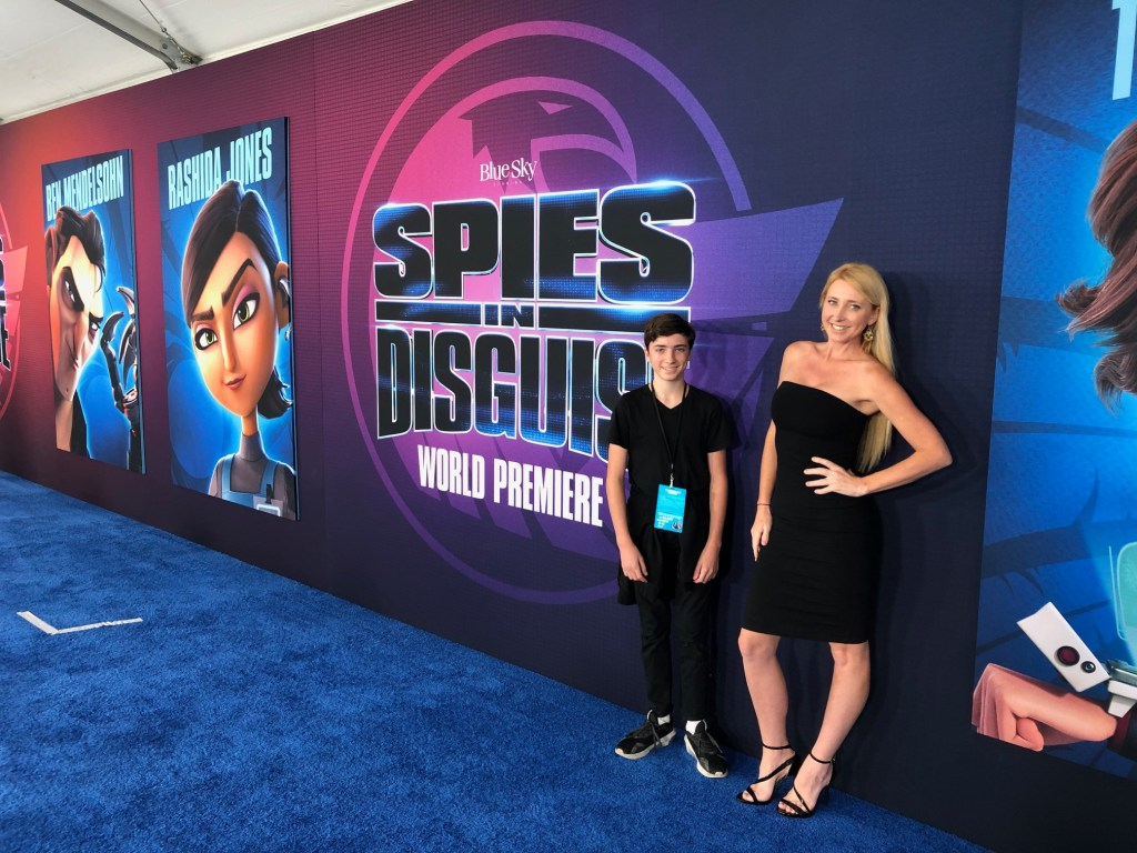 Shelby and Tyler Barone at the premiere of Spies in Disguise