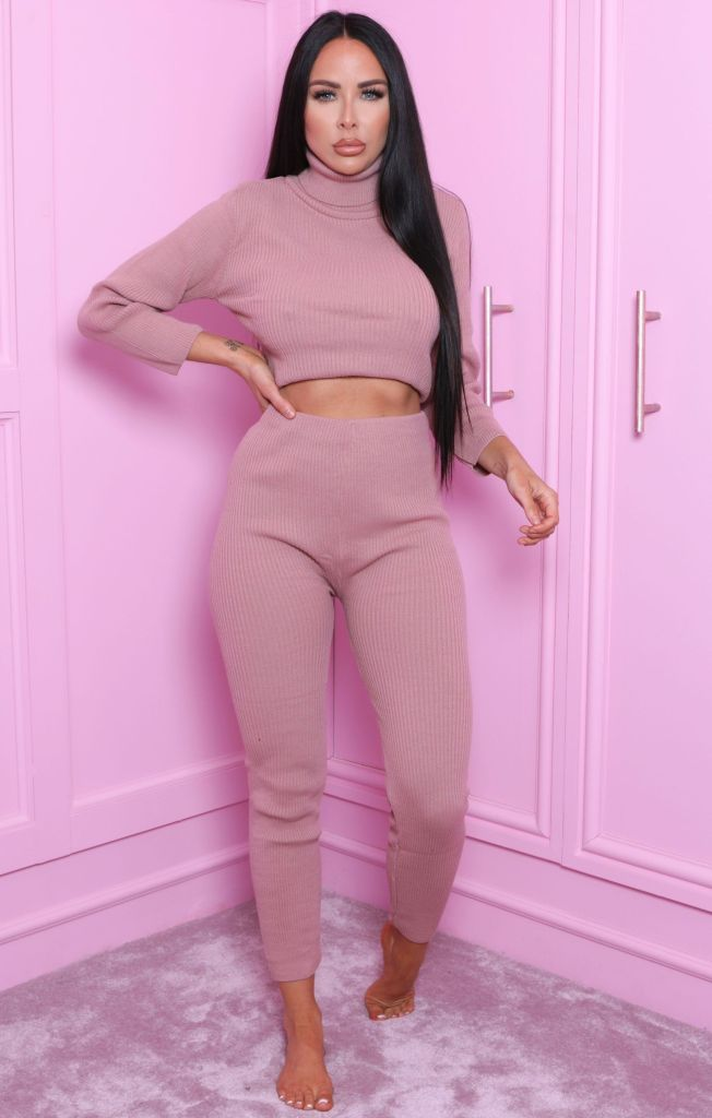 Dusky Pink High Neck Cropped Loungewear Set