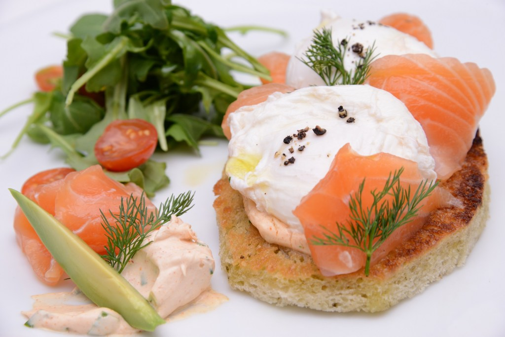 South of France Poached eggs with salmon