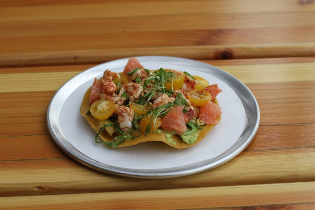 Trejos Tacos-Grilled Mexican White Shrimp Tostada 1-Jim Busfield