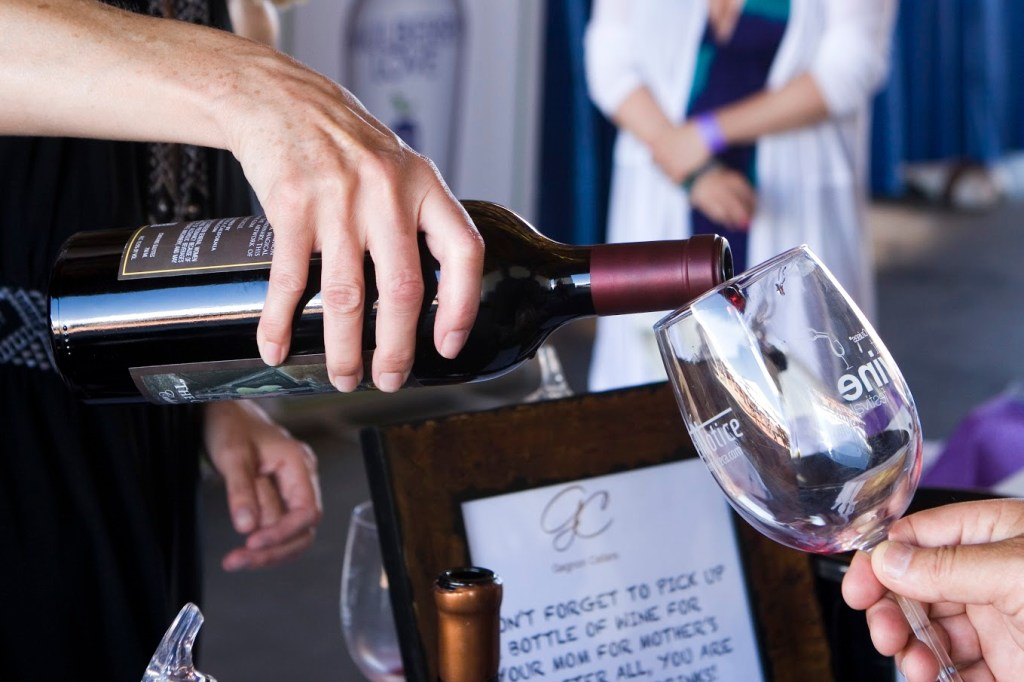 Pouring wine at the Great Wine Festival