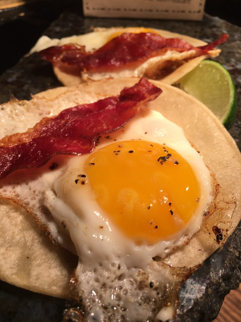 Who Song & Larry's eggs and bacon tacos