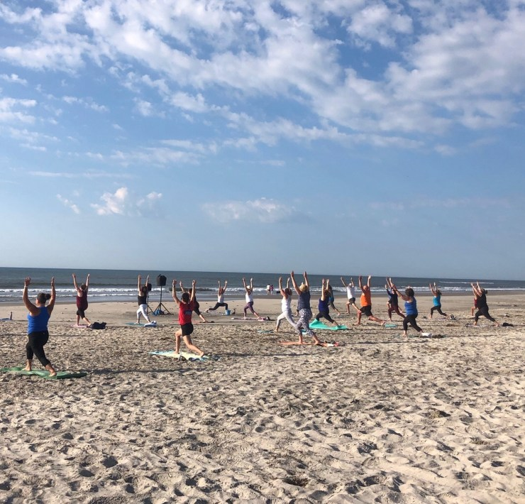 Beach yoga at the shore
