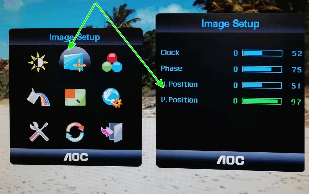 Configurações do monitor (AOC)