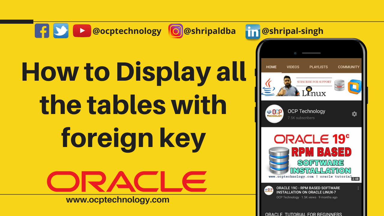 Display all the tables with foreign key