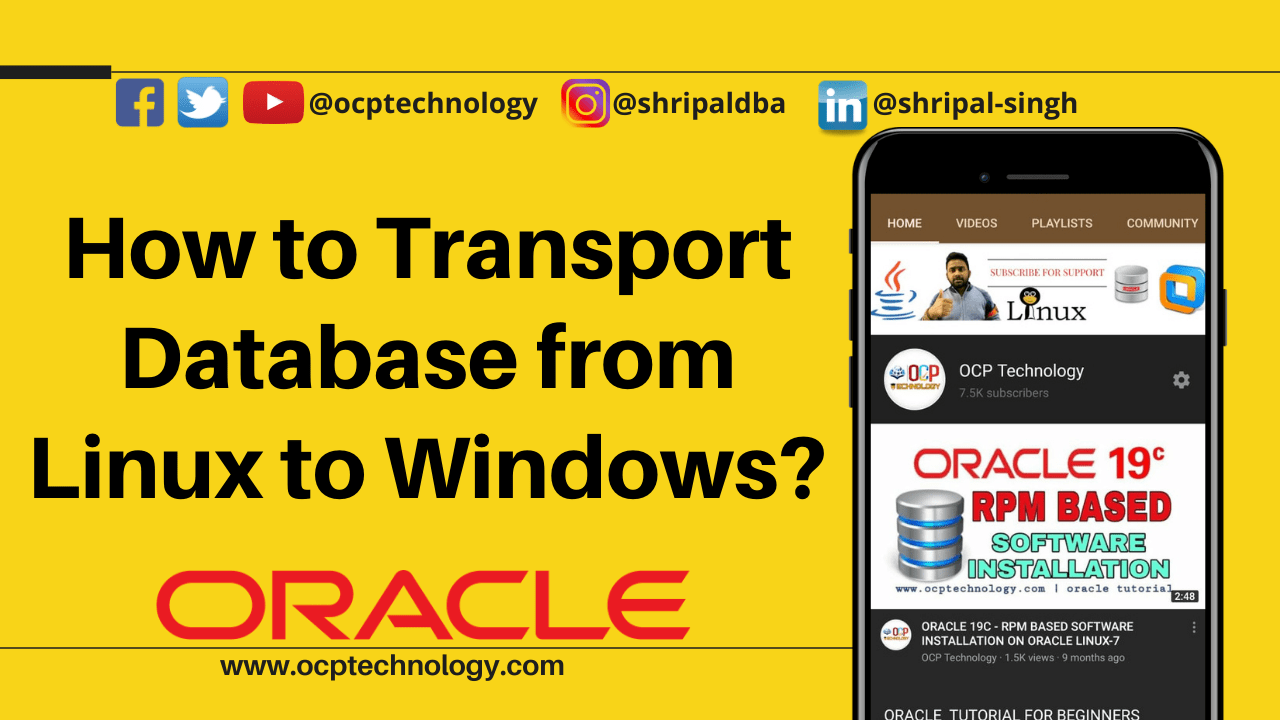 How to Transport Database from Linux to windows