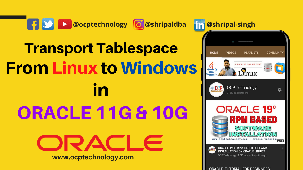 Transport Tablespace from Linux to Windows in ORACLE 11g & 10