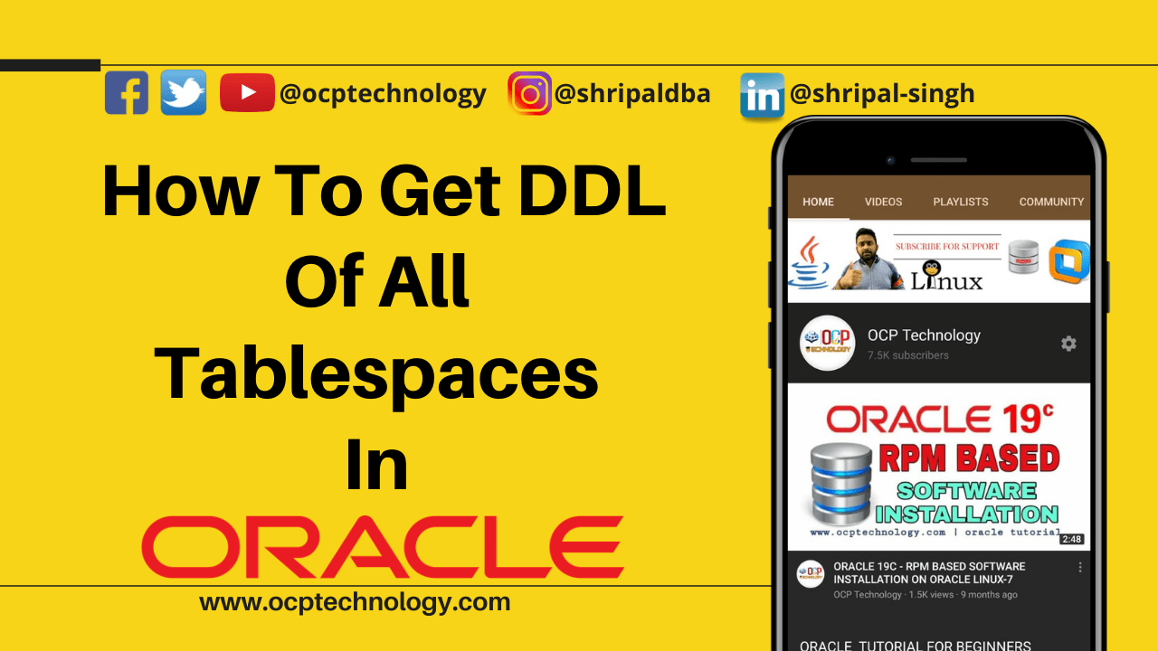How To Get Ddl Of All Tablespaces In Oracle