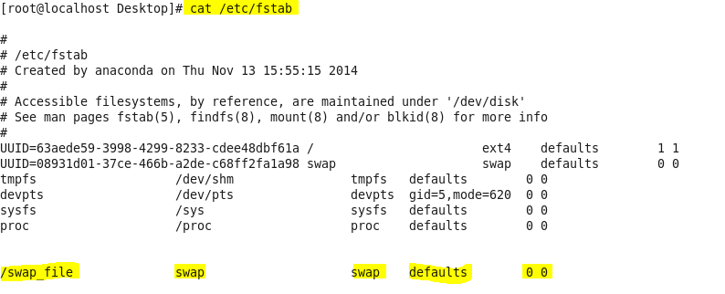 how to check swap space in linux