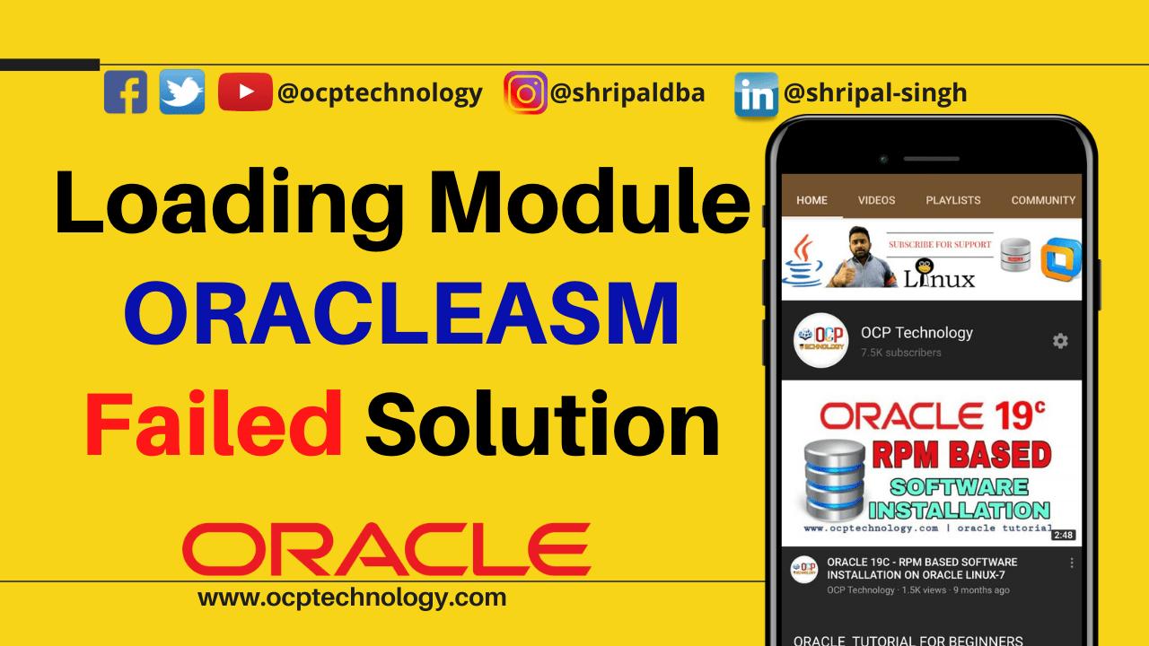 loading module oracleasm failed