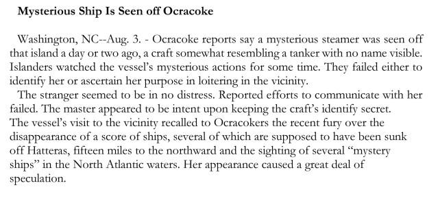 Mysterious Ship Is Seen off Ocracoke