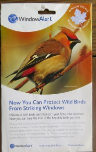 These WindowAlert decals can be placed on windows to help avoid bird collisions.