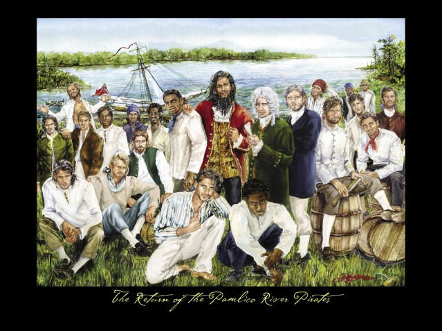 The Return of the Pamlico River Pirates, watercolor by Jeffrey Jakub. Image courtesy of Kevin Duffus.