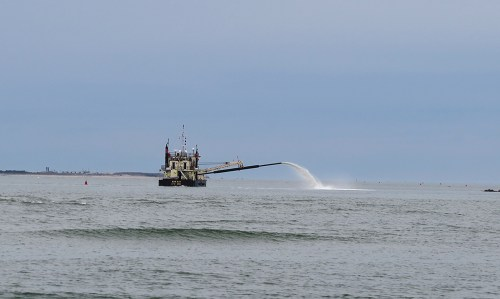 Dredging Hatteras Inlet Jan. 2015. Photo by Stacey Sutton